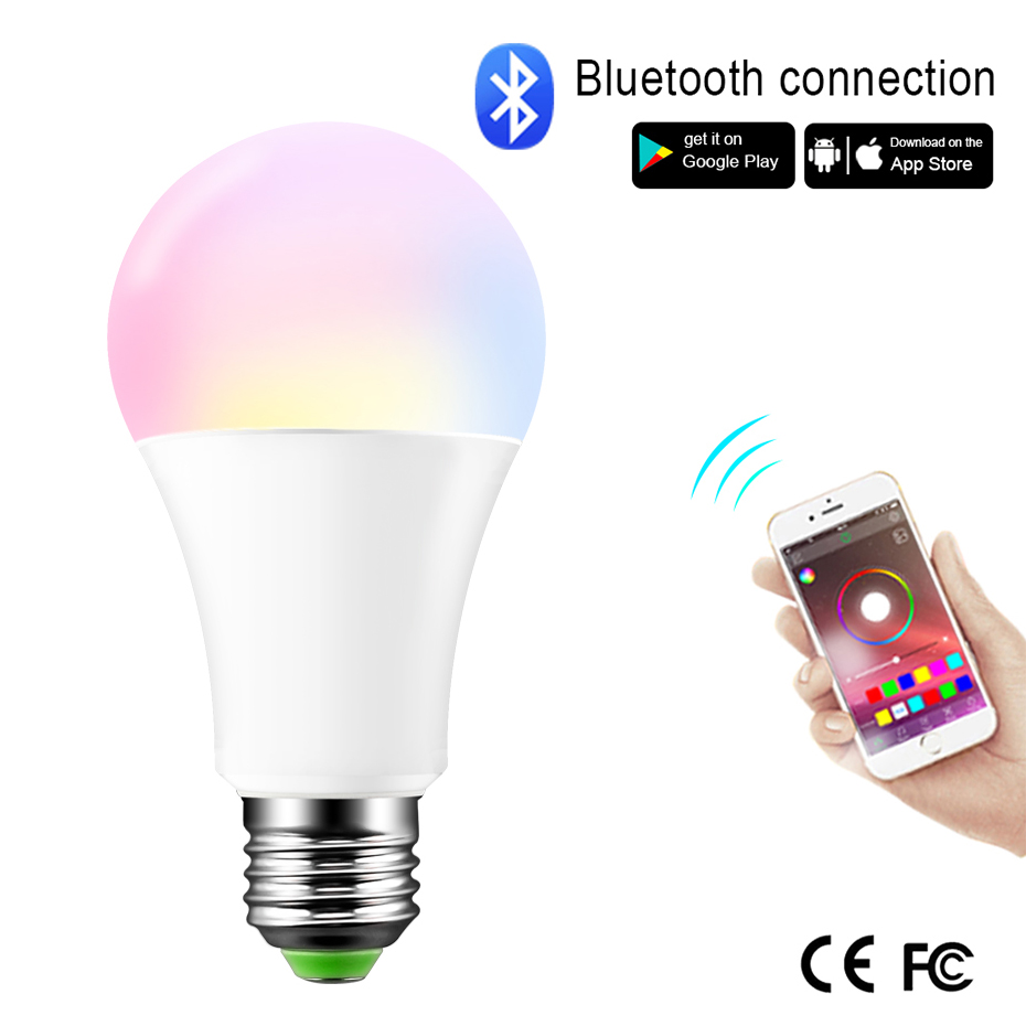 Smart Light Bulb 15W RGB Magic Light Bluetooth Bulb Lamp Dimmable Multicolor Music Wake-Up Lights Compatible with Google Play