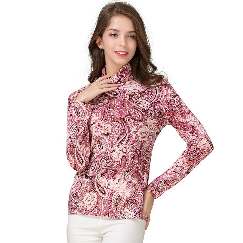 70 wool 30 silk women 39 s t shirts femme print flowers tee shirts female full sleeve women. Black Bedroom Furniture Sets. Home Design Ideas