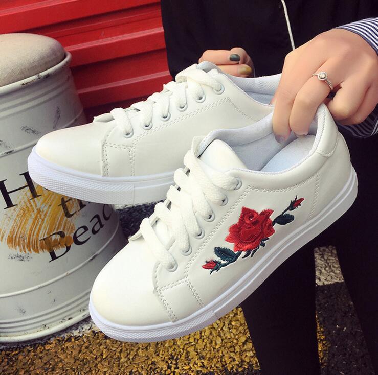 Feminino 1 Tacón Grueso Zapatos 7 Mocasines Transpirable Plataforma Chicas 5 Casual Tenis 3 6 2017 Bordado 4 2 8 Blanco Estudiantes Lolita 6pFF4O