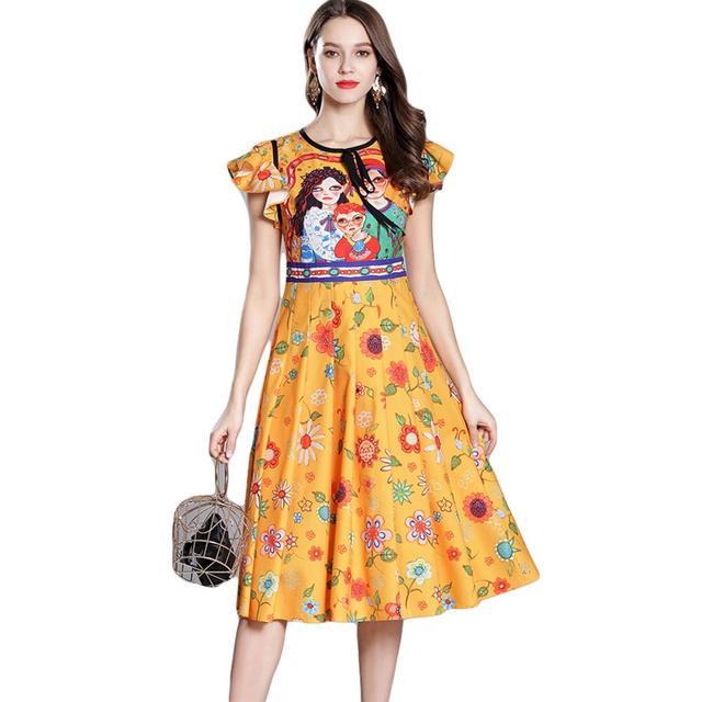 Runway Dress Women Long Summer Dress Chiffon Girl Floral Print Cartoon Vestidos Playa Verano 2018 Boho Jurken Robe Ete Femme
