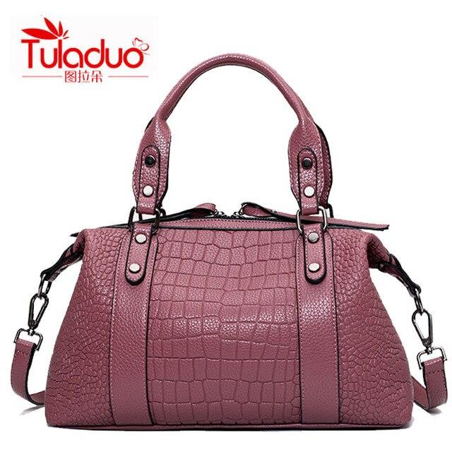 High Quality Women Handbags PU Leather Soft Ladies Casual Tote Messanger Bags Female Fashion Crocodile Pattern Crossbody Bag Sac