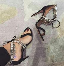 Summer Fashion Suede Leather Women Sexy Sandals Cutout Style Ladies Fashion Dress Shoes Crystal Tassel Ladies Lace Up High Heels