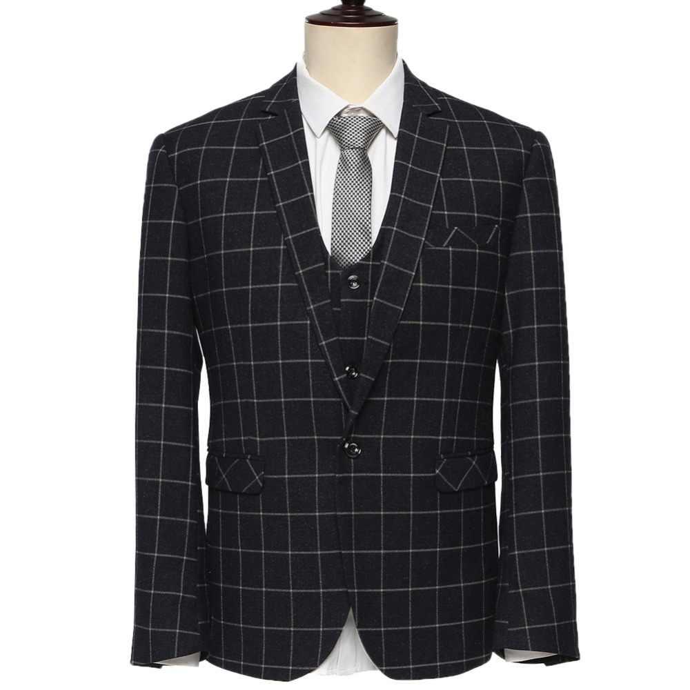 (ジャケット+パンツ+ベスト) 2015新しい到着ブラックチェック柄&ブルーチェック柄スリムフィットファッションブランド男性ビジネスドレススーツF1572