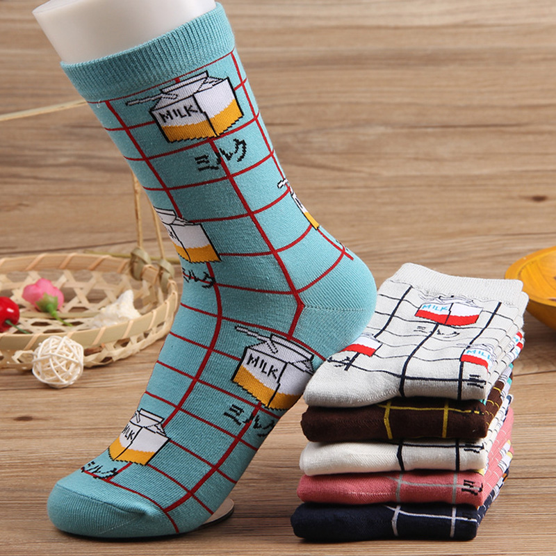 New Arrival 1Pair Winter Warm Free Size Cotton Fortified Milk Harajuku Funny Hipster Gray White Cartoon Girls Women Socks