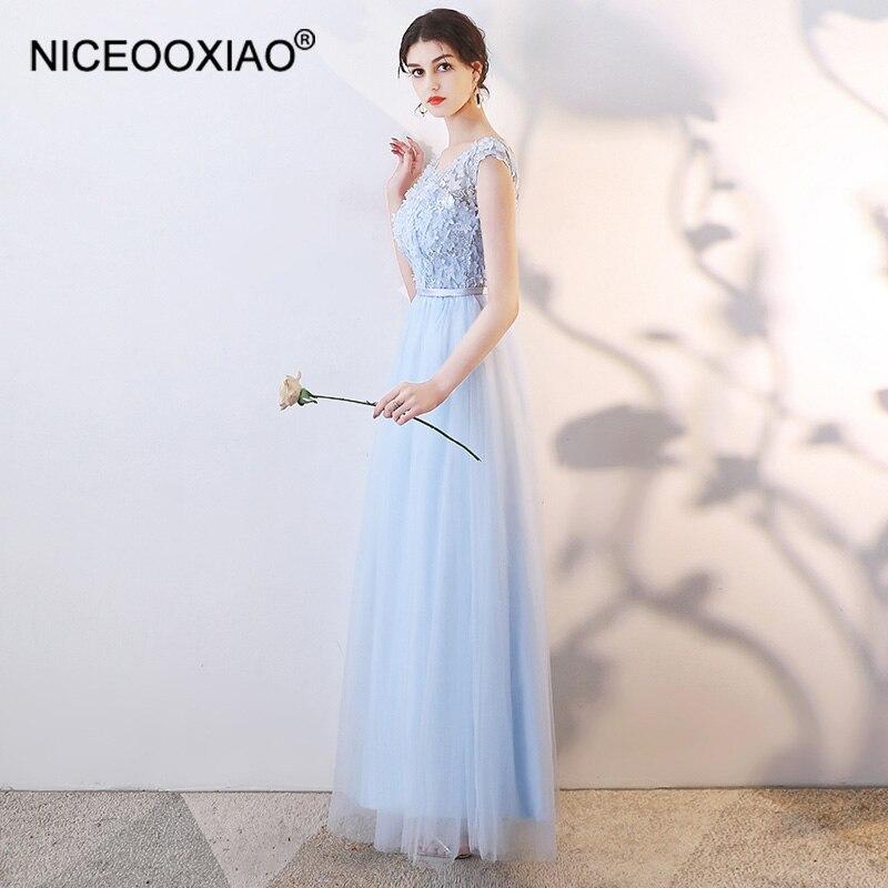 NICEOOXIAO élégante dentelle longue robe de demoiselle d'honneur mince tempérament en mousseline de soie robe de soirée 6 Styles bleu robe de demoiselle d'honneur BNLF611-3