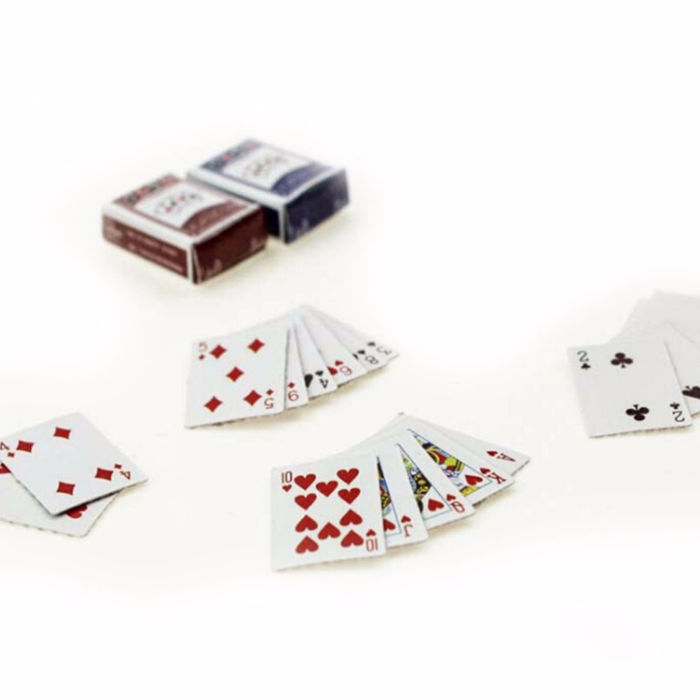 1Set Mini Poker 54pcs Poker Card With 2 Boxes For 1:12 ...