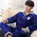 Três Camadas Grossas de Algodão Homem de Pijama De Flanela do pijama Conjunto Pijama Terno Para Amigo Russo Inverno Avisar Lounges Homewear Pijamas 1.5 kg