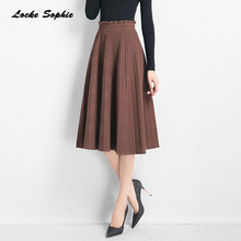 1pcs Elastic Hight waist Womens A-line skirts 2019 Autumn Fashion Knitted cotton Splicing Pleated skirt Ladies Skinny