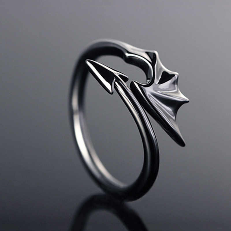 Punk Jewelry Titanium Brass Koakuma Little Devil Dragon Gothic Evil Vampire Rings Open Ring Halloween Party Jewelry Gift