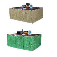 270*75CM Novelty Grass Table Skirt Hawaiian Straw Green Colorful Party Tulle Tutu Desk Skirts Beach Tableware Party Supplies 3