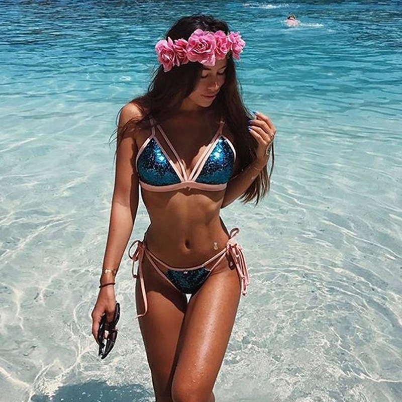 New Sexy Bikini Gold Blue Sequins Pendant Swimsuit Holiday Sports Women Swimsuit Swimsuit Bikini Two-Piece Suit Female Swimsuit wonshcora new snake skin bikini 2017 sexy triangle two piece swimsuit women s swimming suit sky blue free shipping