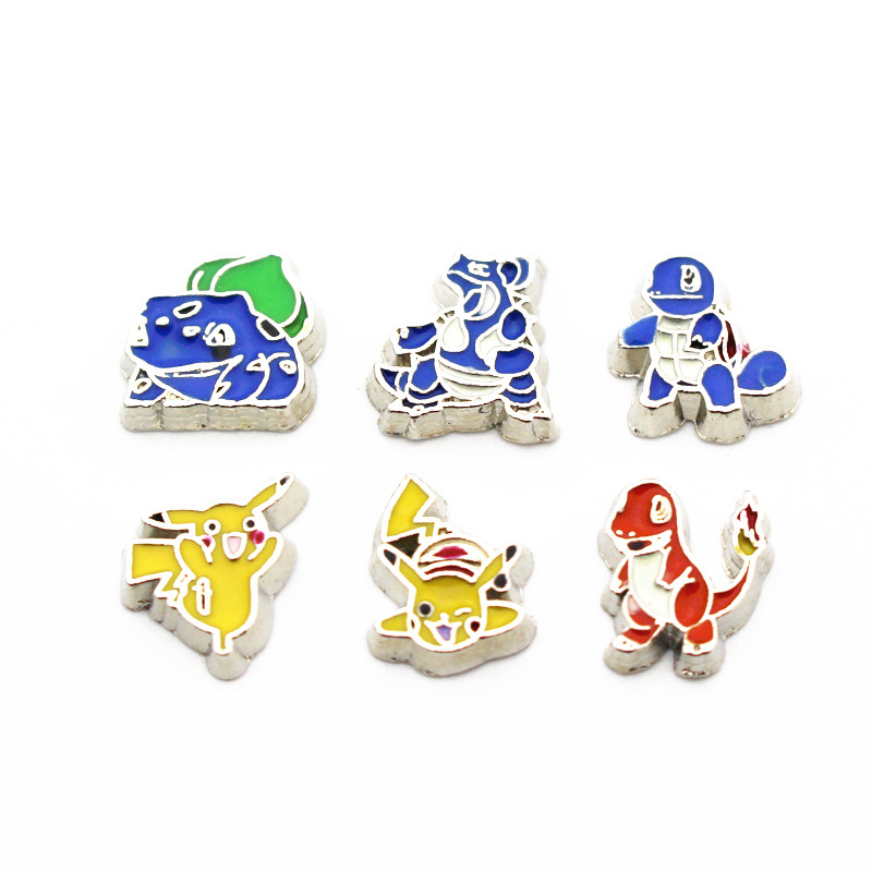 Mixs 10pcs/lot Metal Enamel Pokemon Floating Charms For Living Glass Memory Floating Lockets Pendant Necklace DIY Jewelry
