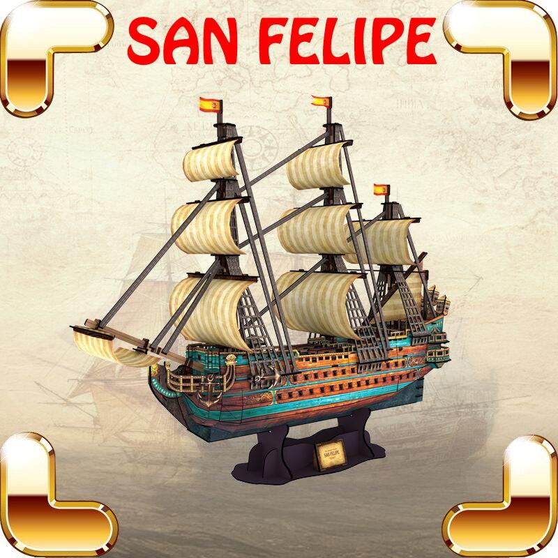 Новый крутой подарок, 3D Пазлы Сан Фелипе, модель корабля, высокий Жесткий уровень, головоломка для взрослых, IQ тестирование, игра, сборная ко