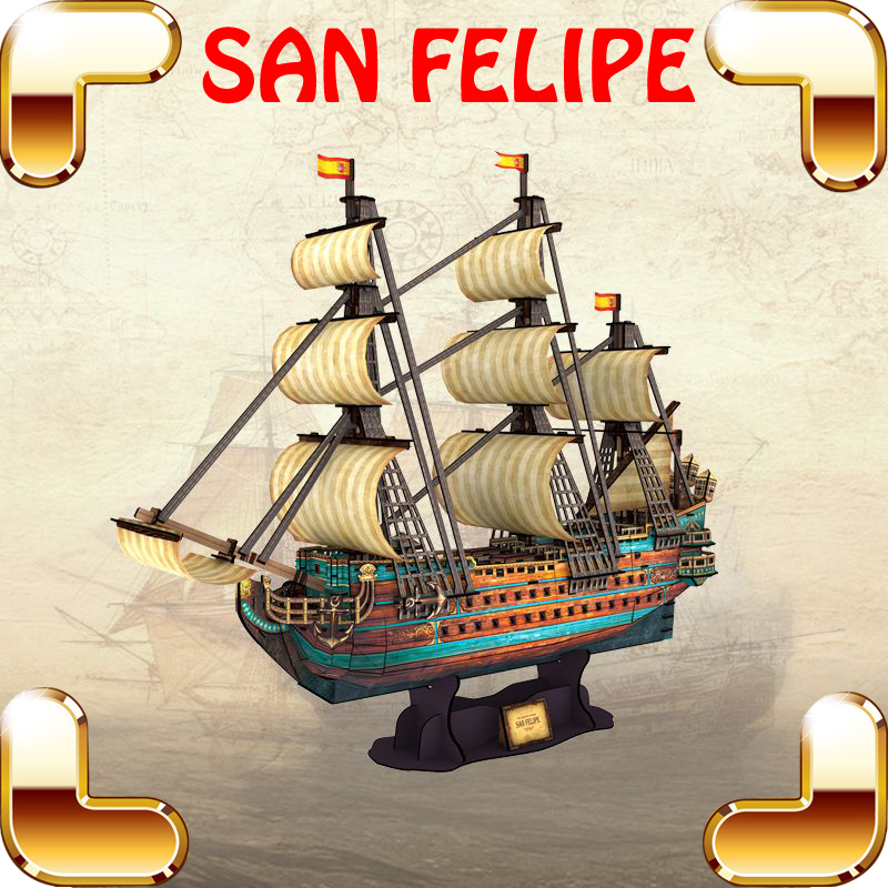 New Cool Gift SAN FELIPE 3D Puzzles Model Ship High Hard Level Adult Puzzle IQ Testing Game Assemble Collection Nice Decoration metal diy nano 3d puzzle model tiger tank kids diy craft 3d metal model puzzles 3d solid jigsaw puzzle