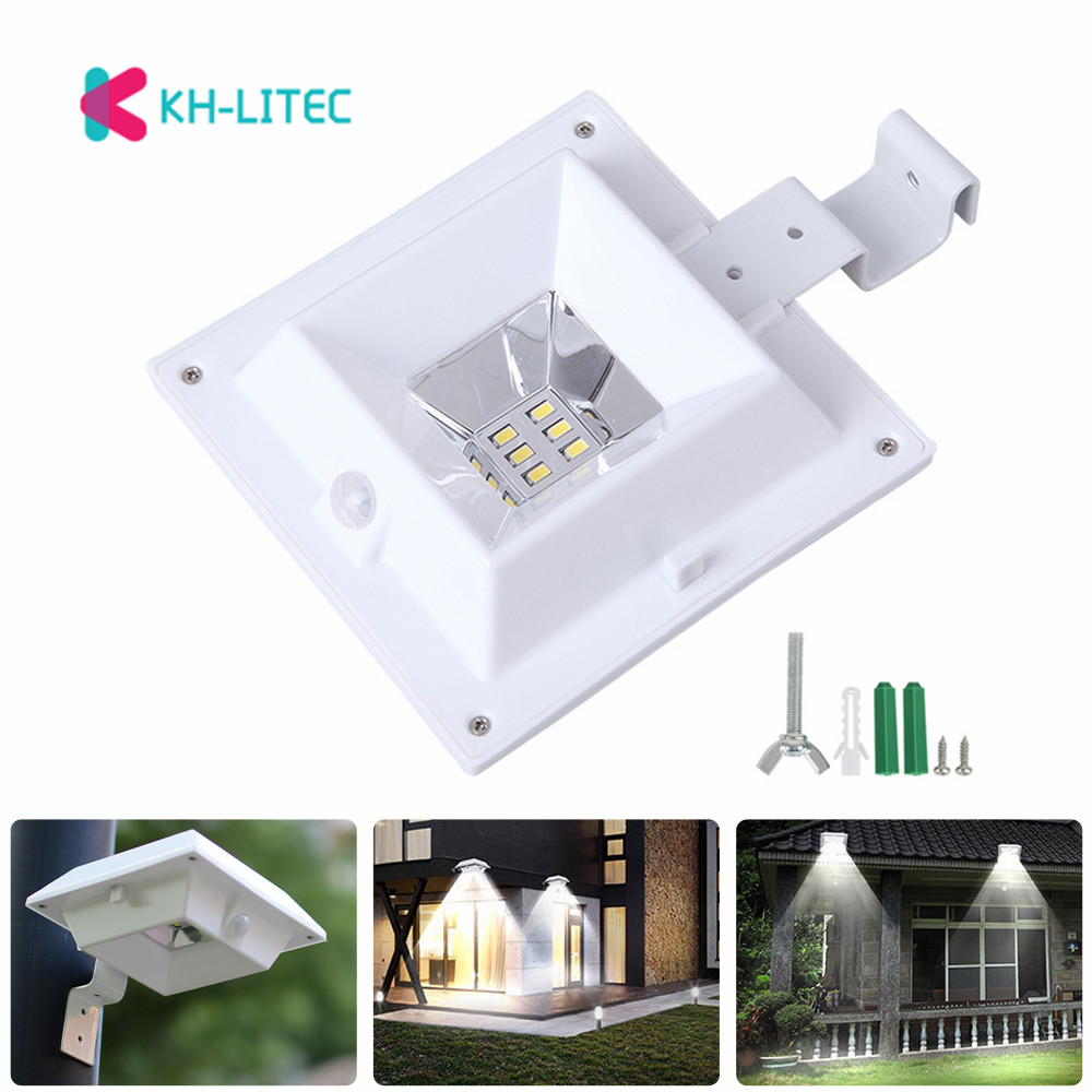 KHLITEC 6 Led Solar Powered Gutter Solar Light With Bright PIR Motion Sensor For House Garden Wall Fence Yard Shed Walkways