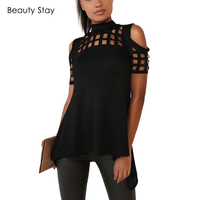 BeautyStay Sexy Hollow Out Back Split Women T Shirt Off Shoulder Summer Block Bandage Sleeve Slim