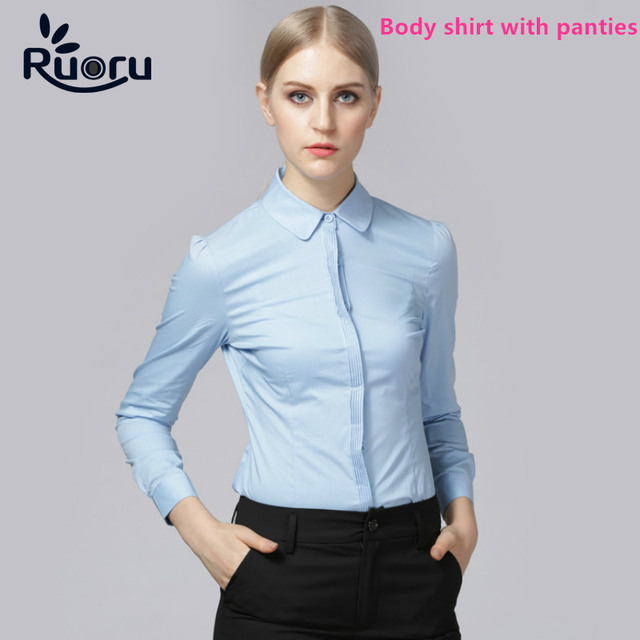 Ruoru Women Formal Clothes White Shirt Work Tops Plus Size Office Body  Shirt Long Sleeve Bodysuit Blouses Blusas Femininas Blue ccd218f96