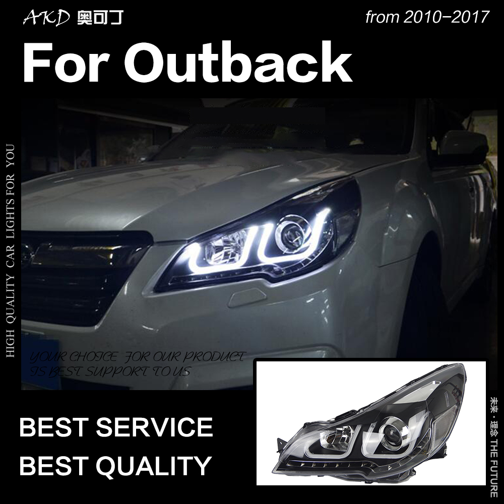 AKD Car Styling Head Lamp for Outback Headlights 2010 2016 Outback LED Headlight Angel Eye DRL