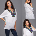 Mulheres Chiffon Floral Patchwork Chiffon blusas 2015 chegada nova Floral camisas