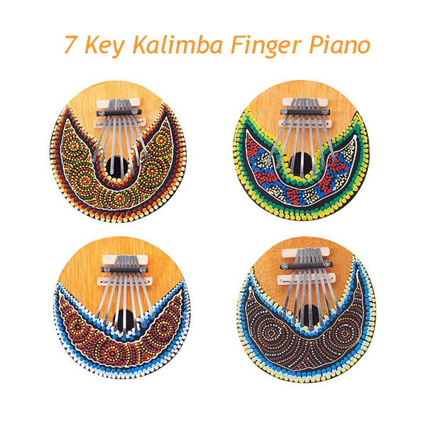 4PCS Lot Kalimba 7 Key Finger Piano Painted Coconut Shell Mbira Likembe Thumb Piano