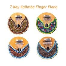 4PCS/Lot Kalimba 7 Key Finger Piano Painted Coconut Shell Mbira Likembe Thumb Piano