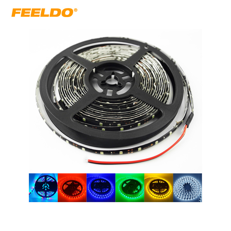 FEELDO 24V 500cm 5 Meter 3528 1210 SMD 300 Leds Vanntett bilbildekorasjon LED Strip Light Daytime Running Light 6-Color