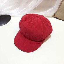 New retro style corduroy octagonal cap beret spring summer autumn and winter multi-color artist hat men women sale