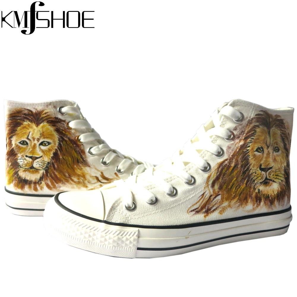 f96f8e80a574a KMFSHOE Breathable High Top Lion Shoes Men's Fashion Custom Graffiti ...