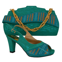 GREEN !2014 top selling women's shoes and bags set! high class African shoes and matching bags with rhinestone!HVB1-12