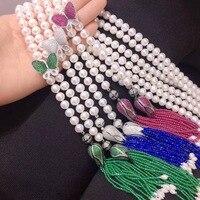 Длинные пресной воды Жемчужное ожерелье 925 серебро с бабочкой и цветком кисточки Женская мода ювелирные изделия Бесплатная доставка