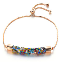 2019 Newest Charm Multicolor Crystal Bracelets Bangles For Women Femme Wedding Jewelry Adjustable Gold Chain Bracelet Gift(China)
