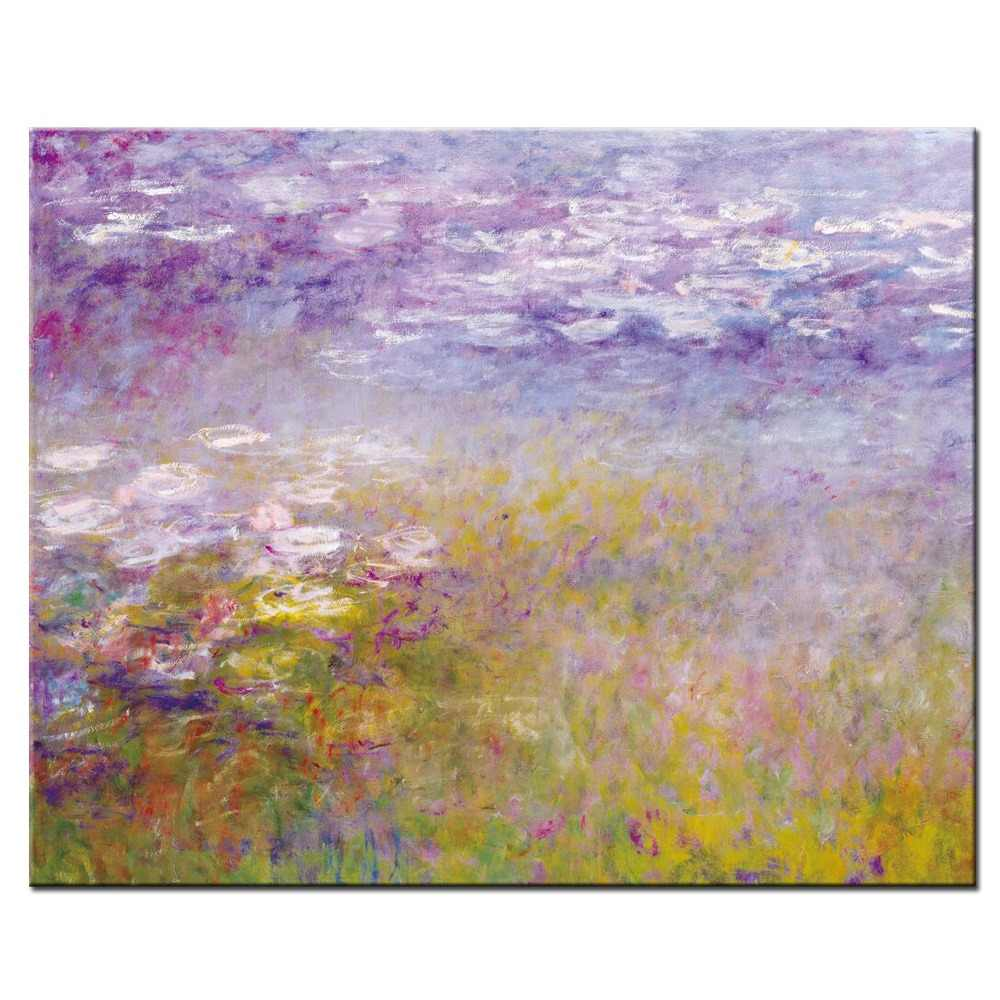 Monet Water Lilies Paintings On The Wall Impressionist Famous Painting Reproduction Flower Canvas Pictures For Living Room Decor