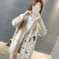 Women Sweaters Autumn Winter Outerwear Sweater V neck Casual Knit Cardigans Cartoon Embroidery Long Sleeve Korean loose Cardigan