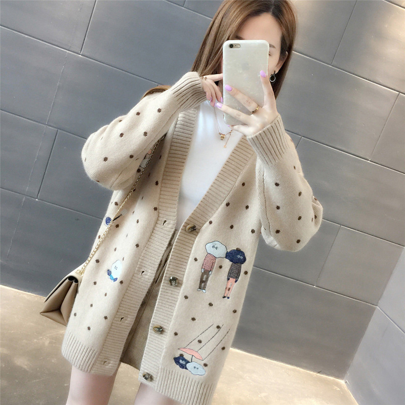 Women Sweaters Autumn Winter Outerwear Sweater V-neck Casual Knit Cardigans Cartoon Embroidery Long Sleeve Korean Loose Cardigan