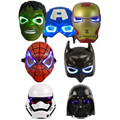 7PCS/Lot LED Glowing Lighting Mask Star War Captain America Spiderman Hulk Iron man Batman Figures Party Halloween Cosplay Mask
