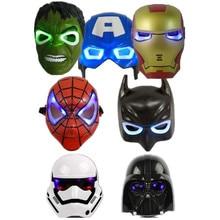 7PCS Lot LED Glowing Lighting Mask Star War Captain America Spiderman Hulk Iron man Batman Figures