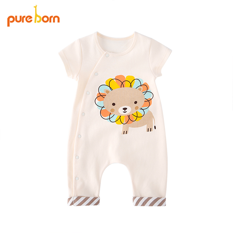 Pureborn Cartoon Lion Baby   Romper   Newborn Cotton Baby Boy Girls Clothes Infant Jumpsuits Summer Outfits New Baby Costumes