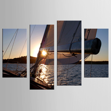 4 pieces HD Printed Sunset Sailing Painting on canvas room decoration print poster picture