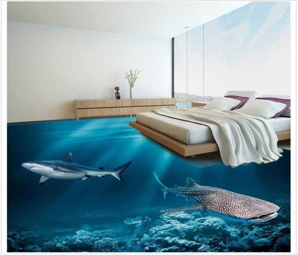 Custom 3d pvc wallpaper photo wallpaper 3 d underwater for Decoration cost per m2