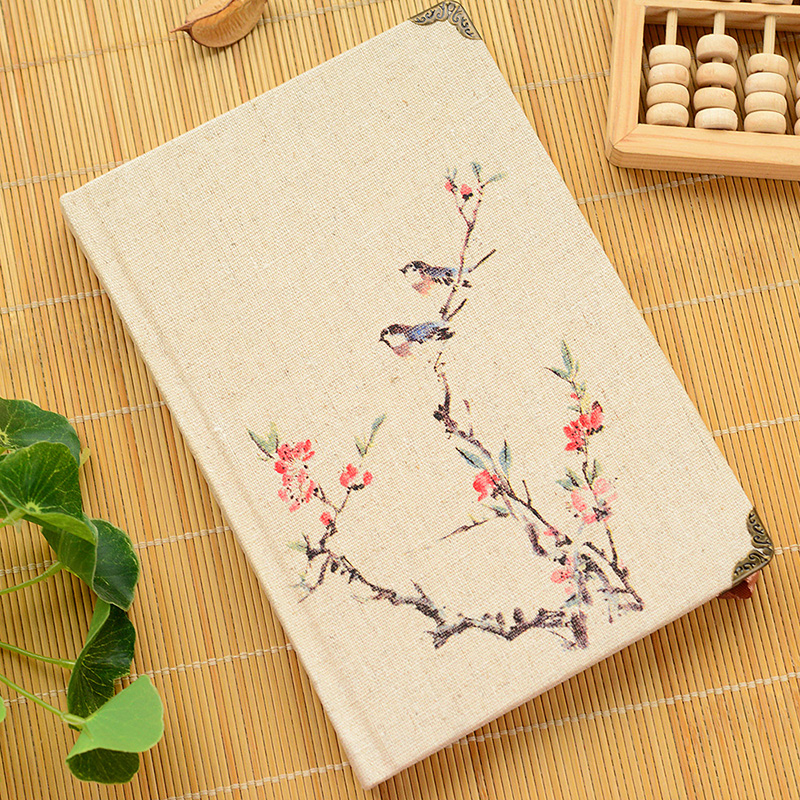 Chinese Style Vintage Hardcover Linen Cover notebook Diary Notebook Travel Journal Book Lined A5 a5 hardcover lock notebook    vintage