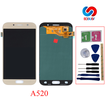 Super AMOLED Phone LCDs For SAMSUNG GALAXY A5 2017 LCD A520 A520F SM-A520F LCD Display Touch Screen Digitizer Assembly LCD Parts