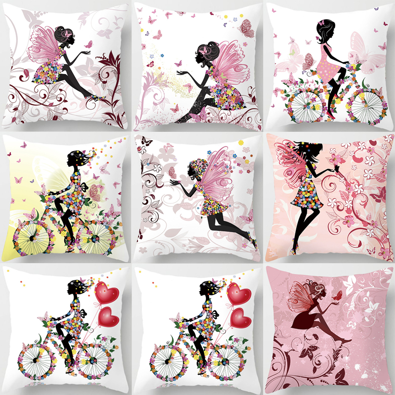 Pillow Flower Pink Floral Decorative Cushions Pillowcase Polyester Cushion Cover Throw Pillow Sofa Decoration Pillowcover 40838