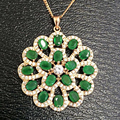 Collier Qi Xuan_fine Jewelry_natural Esmeraldas Colombianas Flor Necklaces_s925 Colgante Sólido Necklaces_factory Ventas Directamente