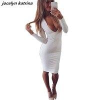 Jocelyn katrina marka kış sıcak beyaz parti elbiseler vestidos derin v yaka uzun kollu dress kadınlar bandaj seksi kulübü dress giymek