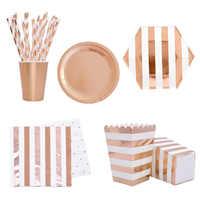 Ensemble de vaisselle jetable en or Rose pour fête ensemble de gobelets en papier pour fête pailles décoration de Table de mariage fournitures de fête d'anniversaire