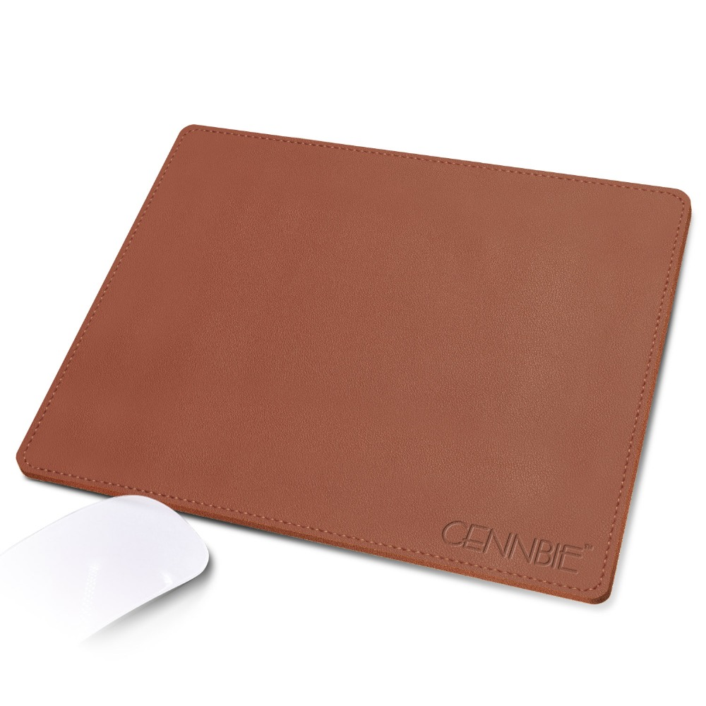Synthetic Leather Non-slip Mouse Pad Super Soft -26x21cm- Laptop Desk Mousepad Waterproof Mouse Mat For Office Home Gaming Brown