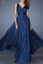 Elegant Navy Blue Evening Dresses 2019 V Neck A Line Chiffon Floor Length Formal Party Women Sleeveless Long Sequined Prom Gowns цена 2017