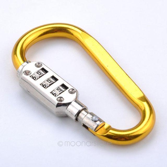 ac6756486a01 Mosquetón de seguridad candado bolsa de equipaje maleta 3 Dial lock  combinación de viaje