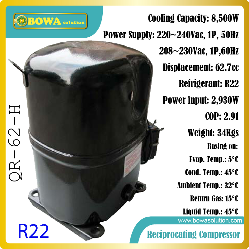 Single phase, R22, 8.5KW cooling capacity hermetic reciprocating compressor suitable for HBL and MBL refrigeration units 5 pcs qdzh35g r134a 12v cooling compressor for marine refrigeration unit