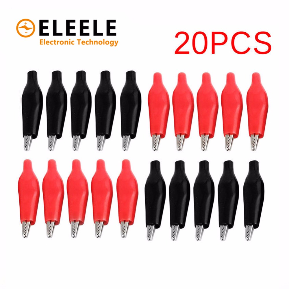 20pcs/lot 28MM Metal Alligator Clip G98 Crocodile Electrical Clamp for Testing Probe Meter Black and Red with Plastic Boot DX35 j ghee vocaloid hatsune miku with electric guitar greatest idol ver 1 8 scale painted pvc action figure collectible model toy